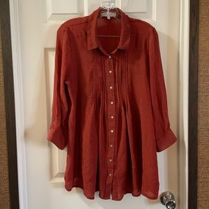 Fever Burnt Orange Button Down 3/4 Sleeve top